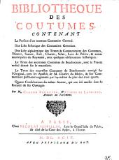Bibliotheque des coutumes, ...