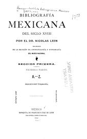 Bibliografía mexicana del siglo XVIII: Número 1