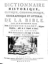 Dictionnaire historique, critique, chronologique, géographique et littéral de la Bible: Volume1