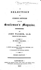 A Selection of Curious Articles from the Gentleman's Magazine: Volume 1