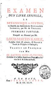 Examen d'un livre intitulé: La métaphysique de Newton, par Voltaire