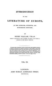 Introduction to the Literature of Europe