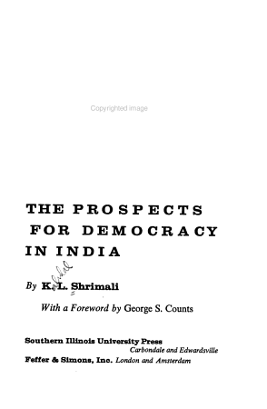 The Prospects for Democracy in India PDF