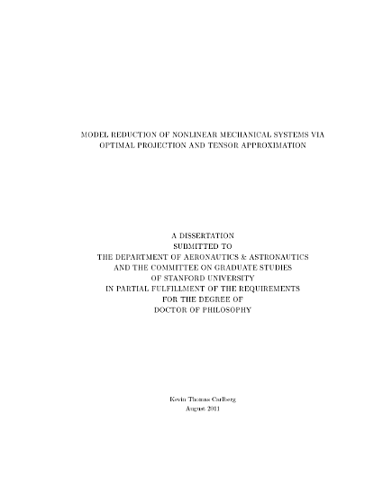 Model Reduction of Nonlinear Mechanical Systems Via Optimal Projection and Tensor Approximation PDF
