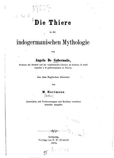 Die Thiere in der indogermanischen Mythologie PDF