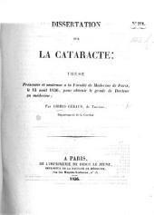 Dissertation sur la cataracte; thèse, etc