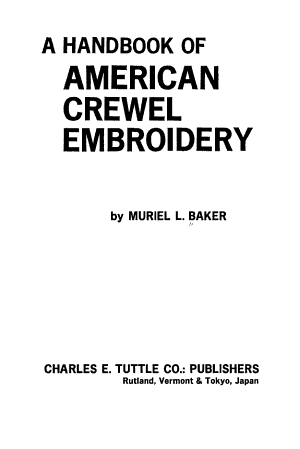 A handbook of American crewel embroidery