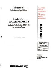 Staff Assessment and Draft Environmental Impact Statement  Calico Solar Project PDF