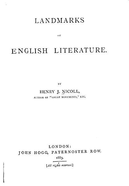 Download Landmarks of English Literature Book