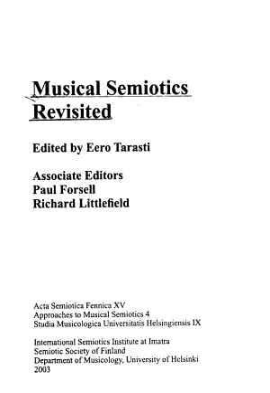 Musical Semiotics Revisited PDF