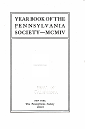 Year Book of the Pennsylvania Society