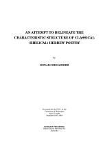 An Attempt to Delineate the Characteristic Structure of Classical (Biblical) Hebrew Poetry