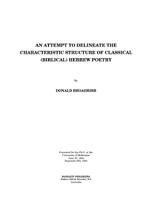 An Attempt to Delineate the Characteristic Structure of Classical  Biblical  Hebrew Poetry PDF