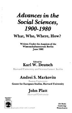 Advances in the Social Sciences  1900 1980 PDF