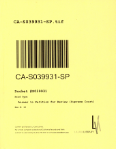California. Supreme Court. Records and Briefs: S039931, Answer to Petition for Review (Supreme Court)