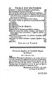 Cours de mathématiques à l'usage des Gardes du Pavillon et de la Marine: avec les suites, Volume3