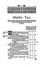 Malefiz-Tax, Nach welchem sich bey allen Hoch-Fürstl. Brandenburg-Onolzbachischen Ober- und Aemtern zu achten
