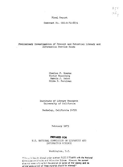 Preliminary Investigation of Present and Potential Library and Information Service Needs PDF