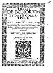 Theses de bonorum et dotis collatione