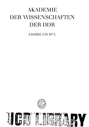 Jahrbuch der Akademie der Wissenschaften der DDR  PDF