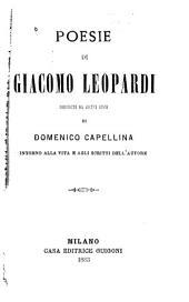 Poesie: Precedute da alcuni cenni di Domenico Cappellina intorno alla vita e agli scritti dell'autore