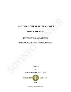 History of Meat Alternatives  965 CE to 2014