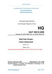 HG/T 20615-2009: Translated English of Chinese Standard. (HGT 20615-2009, HG/T20615-2009, HGT20615-2009): Steel Pipe Flanges (Class Designated)