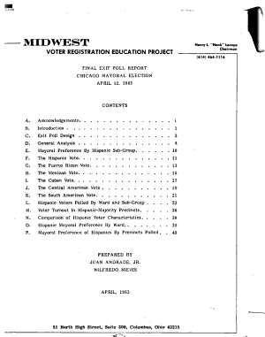 Final Exit Poll Report  Chicago Mayoral Election  April 12  1983 PDF