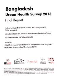Bangladesh Urban Health Survey  2013 PDF