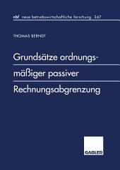Grundsätze ordnungsmäßiger passiver Rechnungsabgrenzung