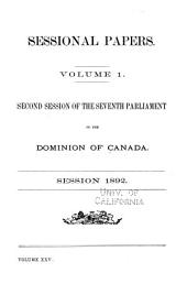 Sessional Papers of the Dominion of Canada: Volume 1