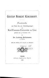 Gustav Robert Kirchoff: Festrede zur Feier des 301. Gründungstages der Karl-Franzens-Universität zu Graz