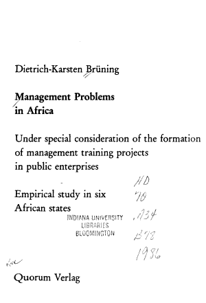 Management Problems in Africa