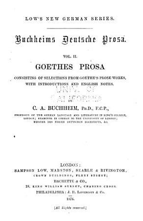 Buchheims deutsche prosa      Goethe s prosa PDF