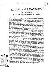 Lettre a Mr. Renouard libraire sur une tache faite à un manuscript de Florence