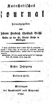 Katechetisches Journal: Erster Jahrgang. Drittes Heft