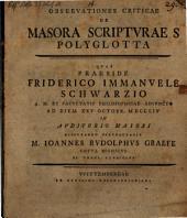 Observationes Criticae De Masora Scriptvrae S. Polyglotta