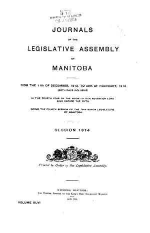 Journals of the Legislative Assembly of Manitoba