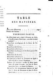 Recherches pathologiques sur la fièvre de Livourne de 1804: sur la fièvre jaune d'Amérique et sur les maladies qui leur sont analogues