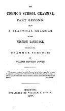 The Common School Grammar ...