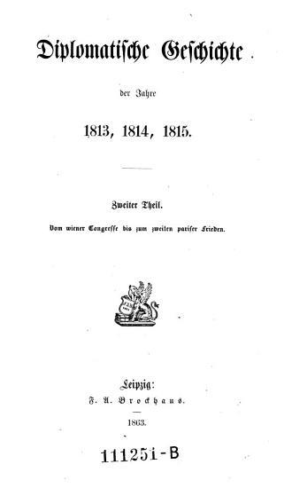 Vom wiener Congresse bis zum zweiten pariser Frieden PDF
