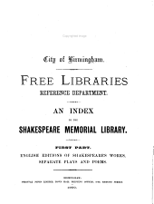 An Index to the Shakespeare Memorial Library: City of Birmingham. Free Libraries Reference Department