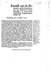 Advis van gecommitteerde raaden in het Noorder Quartier op het versoek der hoofd- en particuliere ingelanden van de Wogmeer, om, by het obtineeren van gratien, niet verpligt te zyn tot observantie van het reglement, betreklyk de verhooging der Omringdyk [...]. 9 october 1777