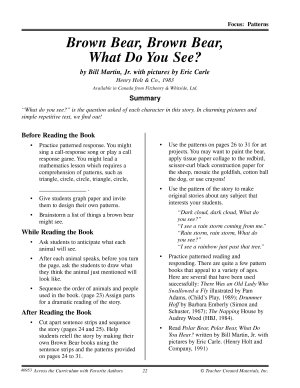 Eric Carle Literature Activities  Brown Bear  Brown Bear  What Do You See  PDF