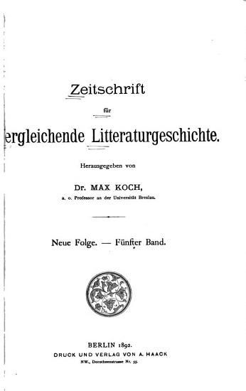 Zeitschrift f  r vergleichende litteraturgeschichte     PDF