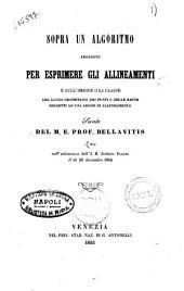 Sopra un algoritmo proposto per esprimere gli alllineamenti e sull'ordine o la classe del luogo geometrico dei punti ... del M. E. Prof. Bellavitis