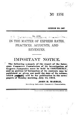 In the Matter of Express Rates  Practices  Accounts  and Revenues
