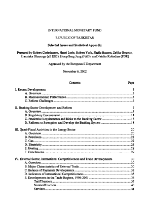 Republic of Tajikistan  Selected Issues and Statistical Appendix PDF
