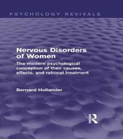 Nervous Disorders of Women  Psychology Revivals  PDF