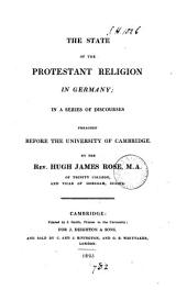 The state of the Protestant religion in Germany, discourses